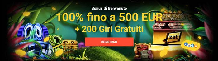 bonus benvenuto zet casino